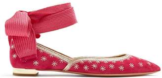 Aquazzura Bliss embroidered suede ballet flats