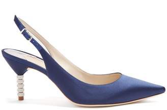 Sophia Webster Tyra crystal embellished-heel satin pumps