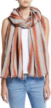 Brunello Cucinelli Metallic Striped Cotton/Linen Scarf