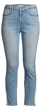 7 For All Mankind Jen7 by Women's Pom-Pom Side Vent Cropped Skinny Jeans