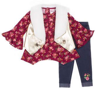 Little Lass 3-pc. Pattern Pant Set Girls
