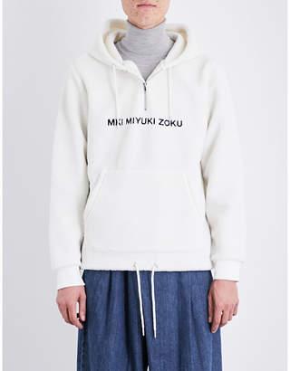 Mki Miyuki-Zoku Logo embroidered fleece hoody