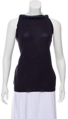 Lanvin Sleeveless Embellished Sweater Navy Sleeveless Embellished Sweater