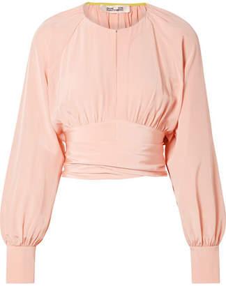 707aa046af4e7 Diane von Furstenberg Gathered Cropped Silk Wrap Blouse - Pastel pink