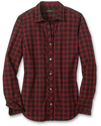 Plaid Ruffled Poplin Shirt