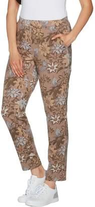Denim & Co. Active Floral Printed Slim Leg Ankle Pants