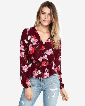 Express Floral Smocked Waist Surplice Blouse