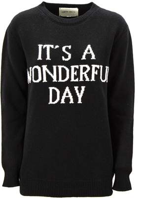 Alberta Ferretti it's A Wonderful Day Pullover In Black Virgin Wool And Cashmere.
