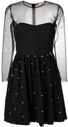 Liu Jo embellished mesh-panel dress