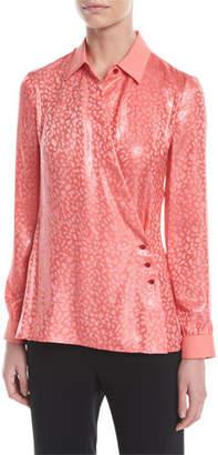 Emporio Armani Leopard-Print Crisscross Fluid Metallic Silk Jacquard Blouse