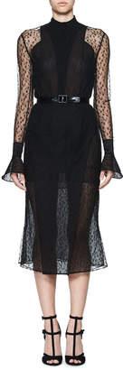Olivier Theyskens Tentel Long-Sleeve Sheer Lace Midi Dress, Black