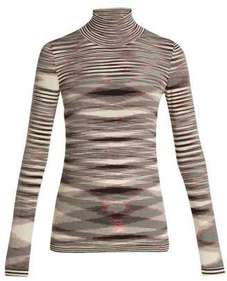 Missoni Intarsia Knit Roll Neck Wool Sweater - Womens - Black Multi