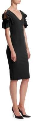 Chiara Boni Cold-Shoulder Sheath Dress