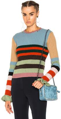 Valentino Striped Collared Sweater