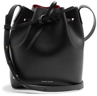 Mansur Gavriel Red Lined Mini Leather Bucket Bag - Womens - Black Red