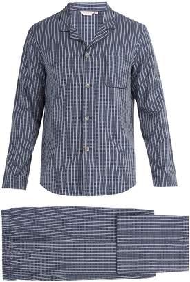Derek Rose Royal stripe and cross print cotton pyjama set