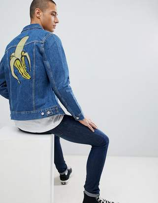 Weekday Banana Embroidered Core Denim Jacket