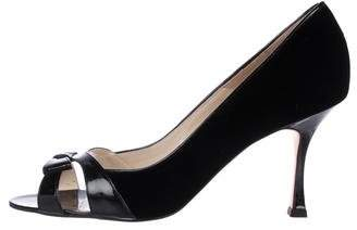 Brian Atwood Patent Leather Bow Sandals