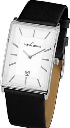 Jacques Lemans Men's 'York' Quartz Stainless Steel and Leather Casual Watch