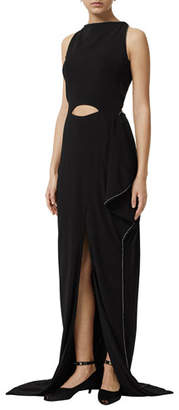 Burberry High-Neck Keyhole-Waist Gown