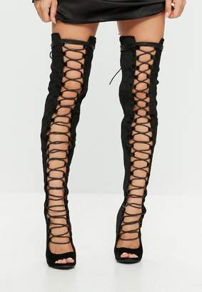 Missguided Black Lace Up Peep Toe Thigh High Boots