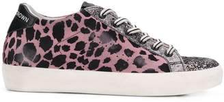 Leather Crown leopard print glitter sneakers