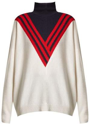 Barrie - Halls Of Ivy Ski Roll Neck Knit Sweater - Womens - Ivory Multi