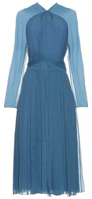 Nina Ricci Long Sleeved Silk Midi Dress - Womens - Blue