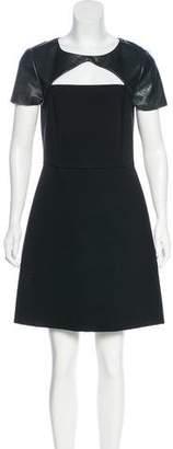 DKNY Leather-Trimmed Mini Dress w/ Tags