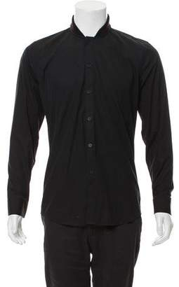 Givenchy Knit Collar Button-Up Shirt