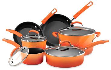 Rachael Ray Hard Enamel Cookware Set and Open Stock - Orange