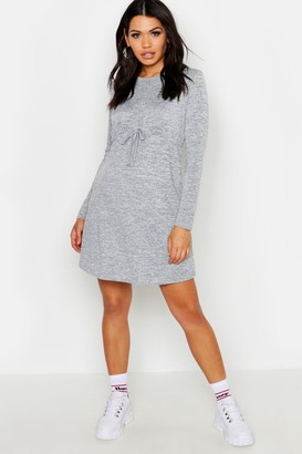 boohoo Maternity Draw Cord Waist Swing Dress
