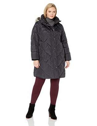 London Fog Women's Plus Size Snap Front Hooded Multi Pattern Quilt Down Coat,2X