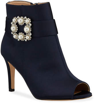Neiman Marcus Candide Satin Pearly Buckle Peep-Toe Booties