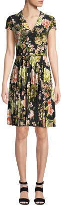 Maggy London Pleated Cap-Sleeve Floral Dress