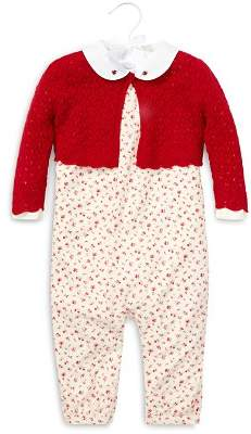Ralph Lauren Girls' Knit Sweater, Printed Overalls & Long-Sleeve Bodysuit Set - Baby