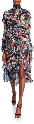 Mary Katrantzou High-Neck Marbled-Chiffon Midi Dress