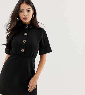 a72ab53db7e9 Asos DESIGN Petite mini dress with collar and leopard print buttons