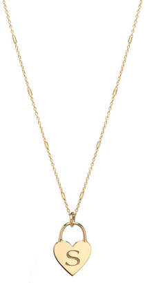 Chicco Zoe 14k Small Engraved Initial Heart Padlock Necklace