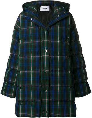MSGM plaid quilted coat