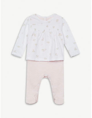 The Little White Company Bunny print & stripe cotton sleepsuit 0-24 months