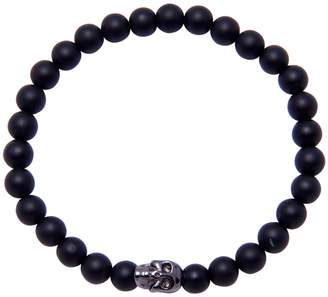 NIALAYA Skull Matte Onyx Stretch Bracelet