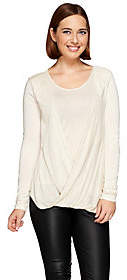 Halston H by Twist Front Long Sleeve Knit Top