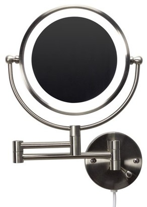 American Imaginations 20.83-in. W Round Brass-LED Wall Mount Magnifying Mirror In Brushed Nickel Color