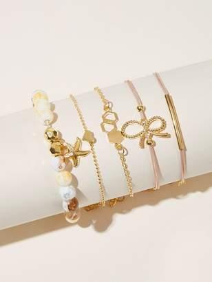 Shein Starfish & Bow Knot Decor Chain Bracelet 5pcs