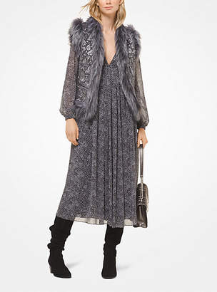 Michael Kors Faux Fur-Trimmed Paisley Embroidered Wool-Melton Vest