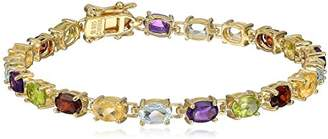 18k Yellow Gold Plated Sterling Silver Genuine Multi Gemstone Tennis Bracelet