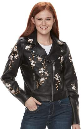Moto J 2 Juniors' J-2 Floral Embroidered Faux-Leather Jacket