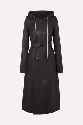 Rick Owens Hooded Coated Linen-blend Trench Coat - Black