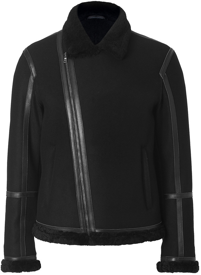 Neil Barrett Wool Bonded Shearling Jacket in Black